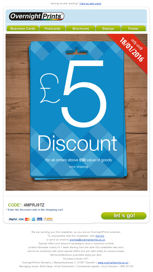 Coupon Code for £5 discount from Overnight Prints #EmailMarketing ...