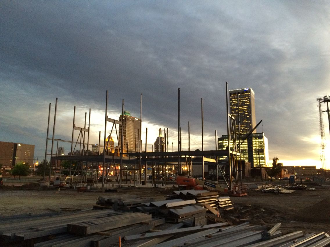 Looking southwest at downtown Tulsa from my construction