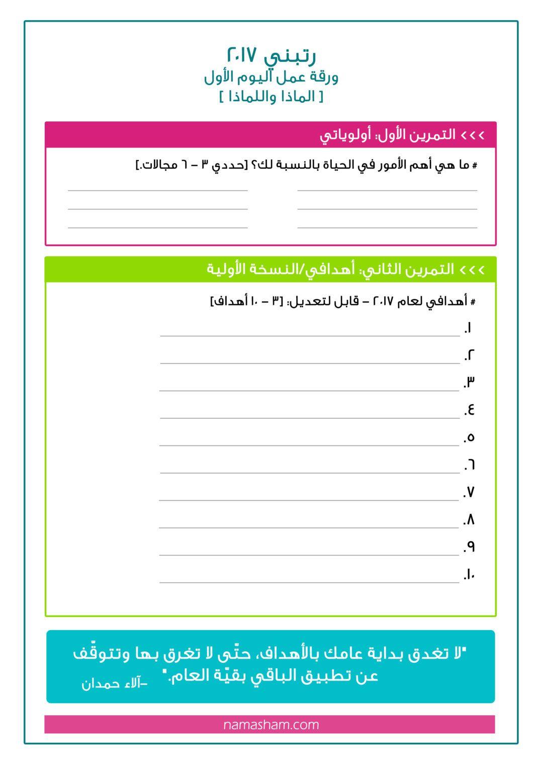 أوراق عمل دورة رتبني2017 مدونة نماء شام Bullet Journal Books Planner Paper Book Journal