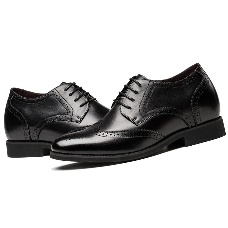 5a274dae493735 Brogue elevator shoes increase heighten 6cm   2.36inches black taller  business lift shoe on sale