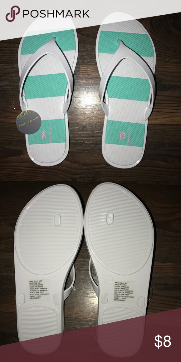 ccb04e498fb Tek Gear blueish green and white striped sandals. Very sturdy with squishy  padding. Never worn! Size medium  fits 7-8 tek gear Shoes Sandals