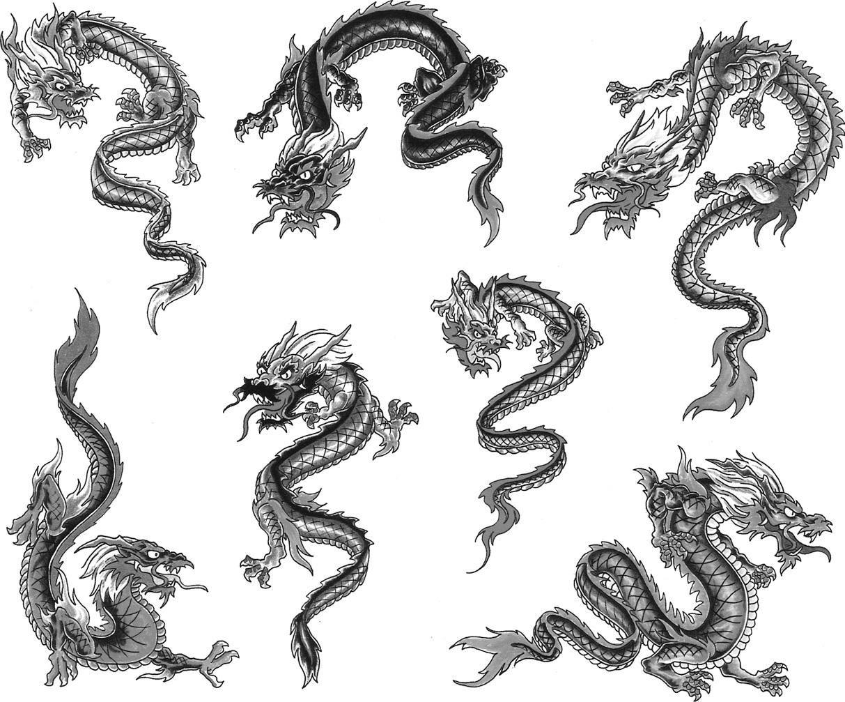 Grey Ink Dragon Tattoos Design Small dragon tattoos