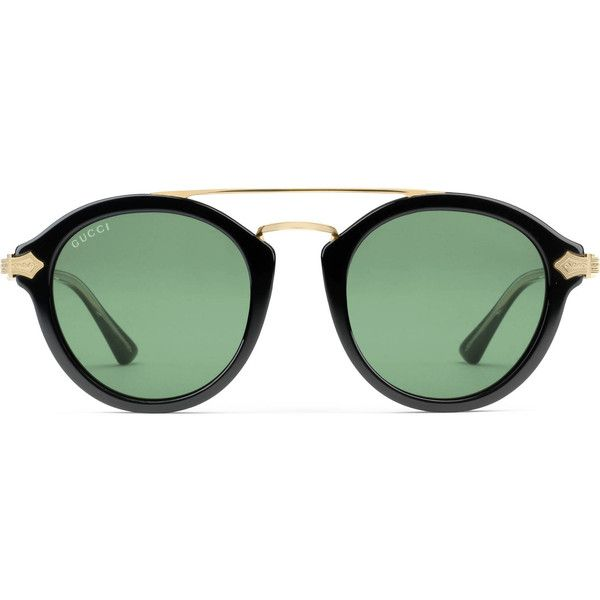 7f03842aaedab Gucci Round-Frame Acetate Sunglasses ( 690) ❤ liked on Polyvore featuring  men s fashion