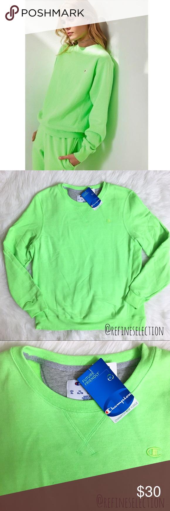 Champion Eco Neon Green Pullover Crew Sweatshirt Sweatshirts Crew Sweatshirts Neon Green [ 1740 x 580 Pixel ]