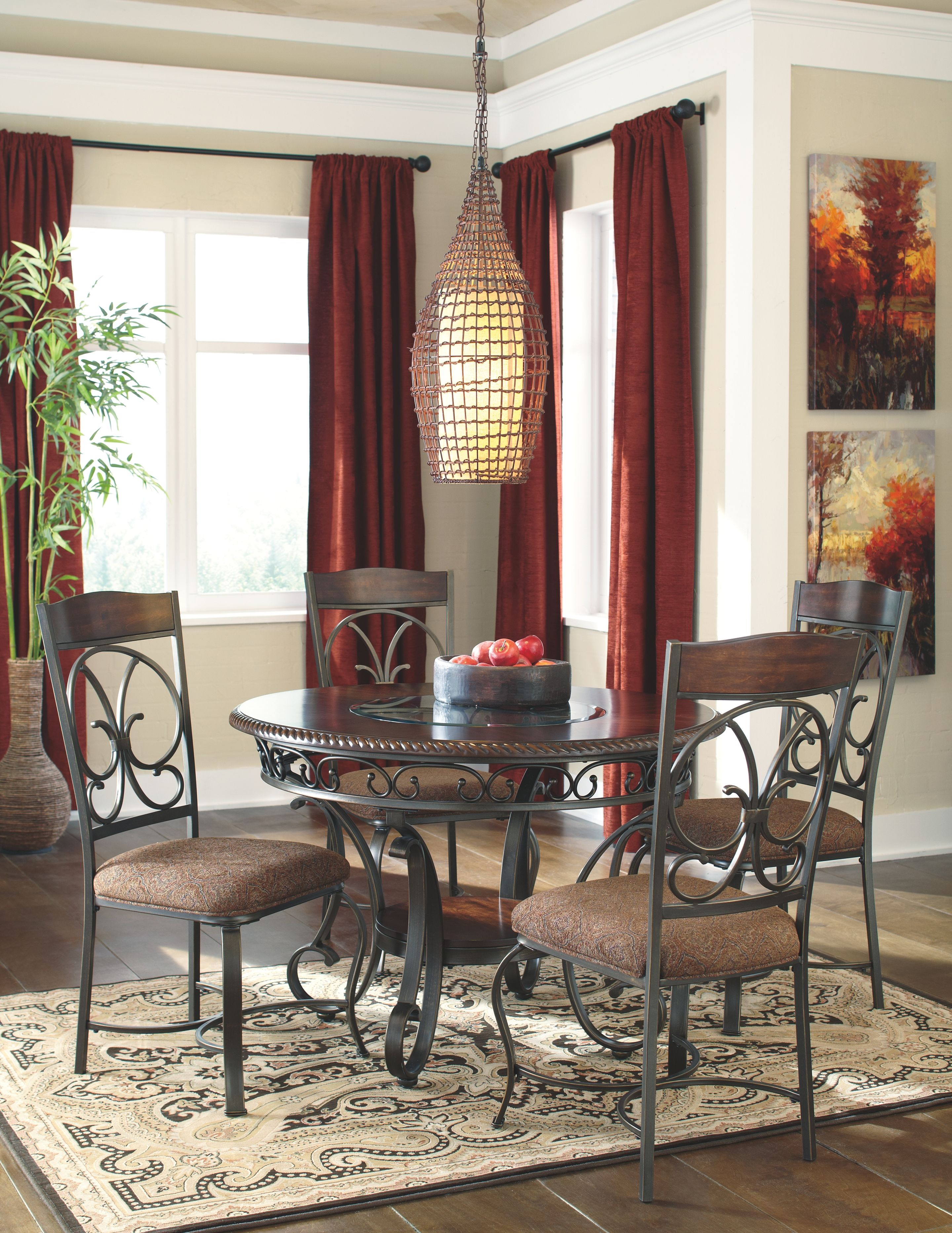 Glambrey 5 Piece Dining Room Brown Metal Dining Room Round Dining Room Round Metal Dining Room Table