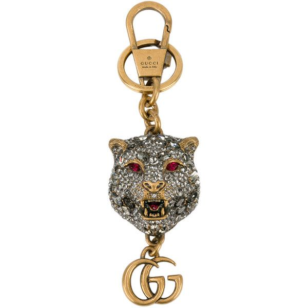 bb7775aaccc Gucci crystal-embellished tiger s head keychain ( 550) ❤ liked on Polyvore  featuring accessories