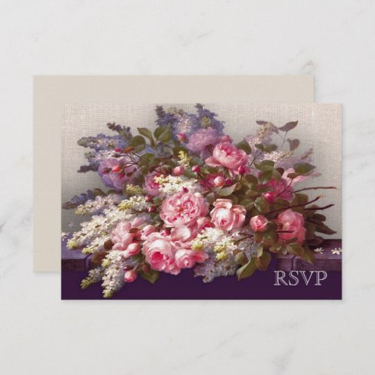 elegant flower painting design response cards in 2018 wedding