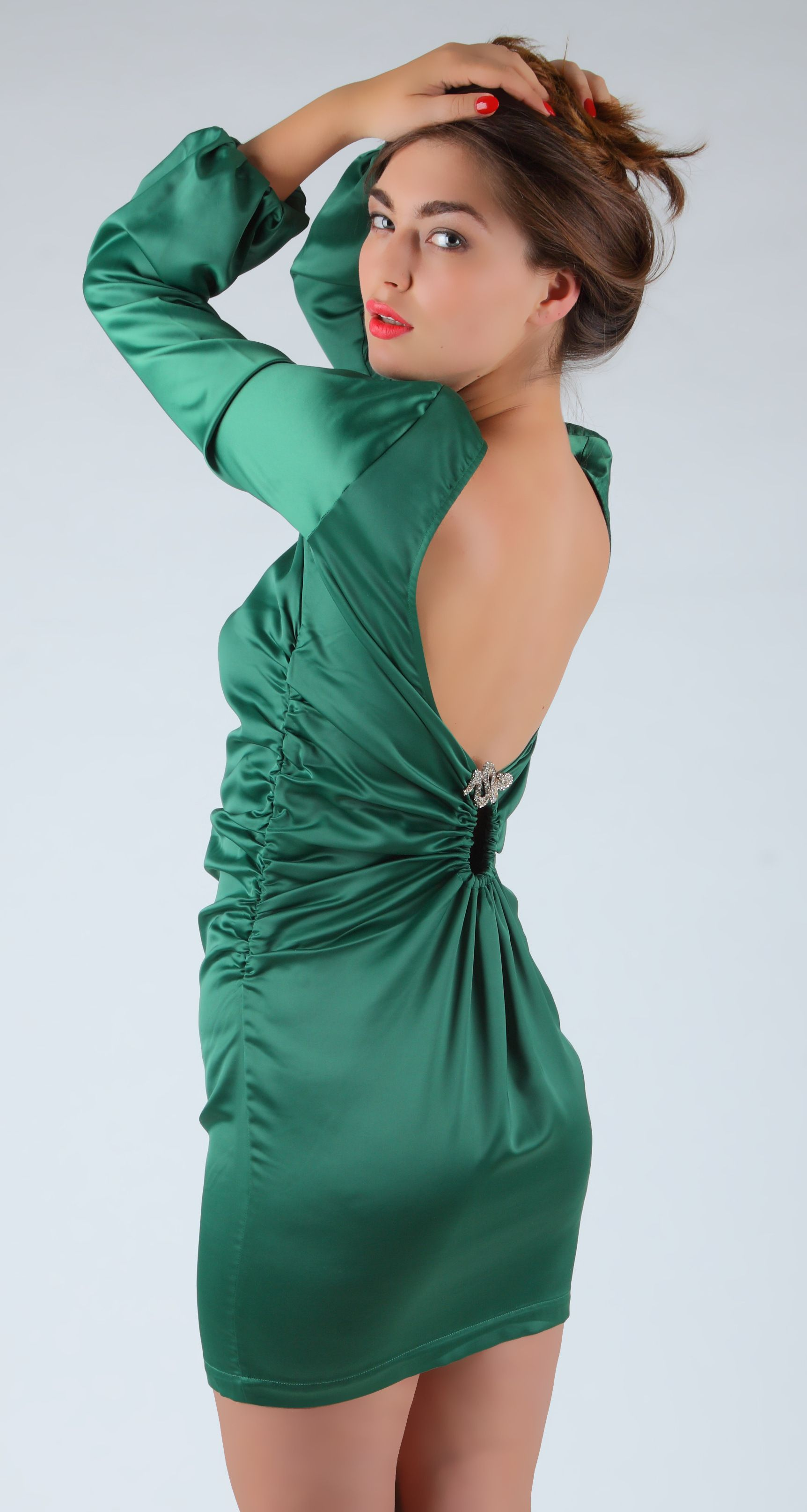 Chic Green Sexy Party Dress With Ruffles Free Shipping