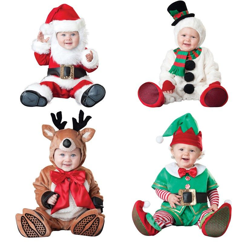 5d6523568 newborn santa baby boy christmas clothing winter romper outwear deer boys  new year costume jumpsuit sets suits unisex cap set