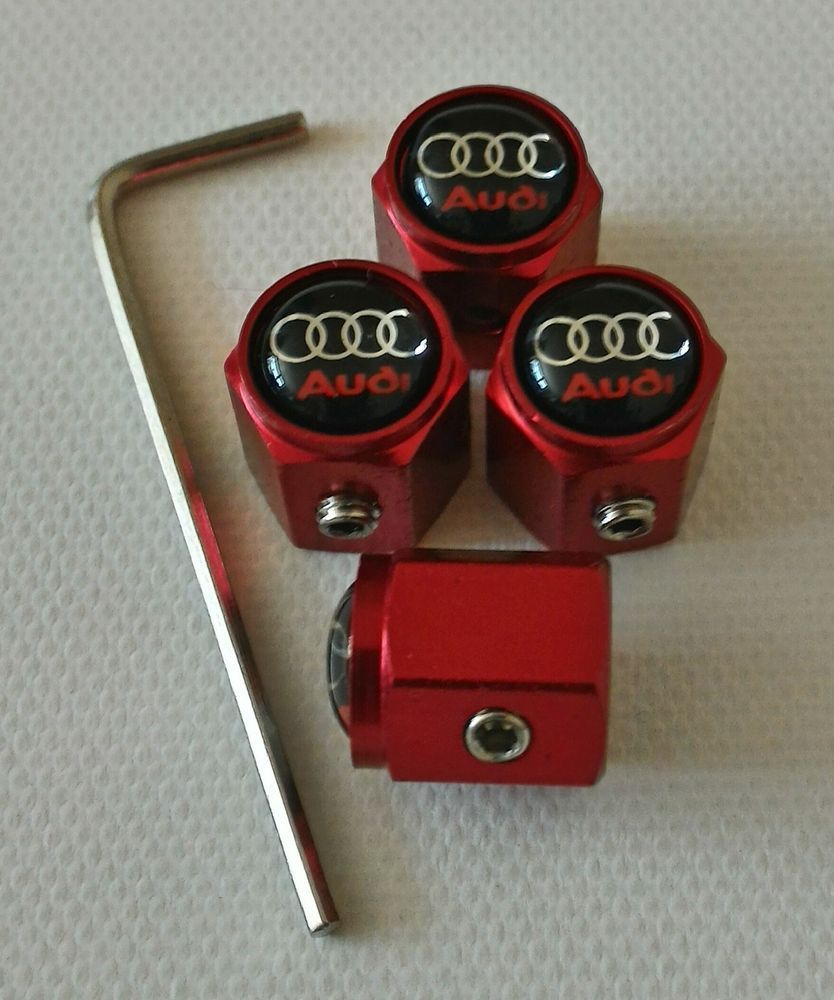 Audi Red Anti Theft Valve Dust Caps Tyre Tt Rs A1 A2 A3 A4