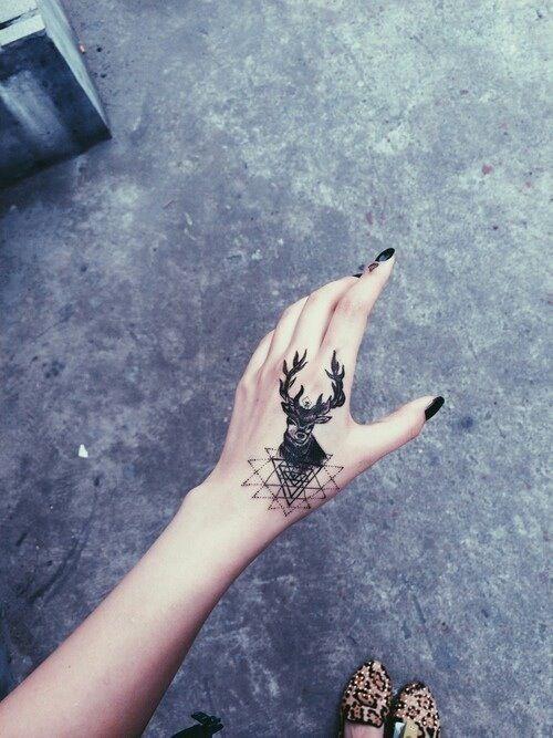 Geometric Deer Hand Tattoo