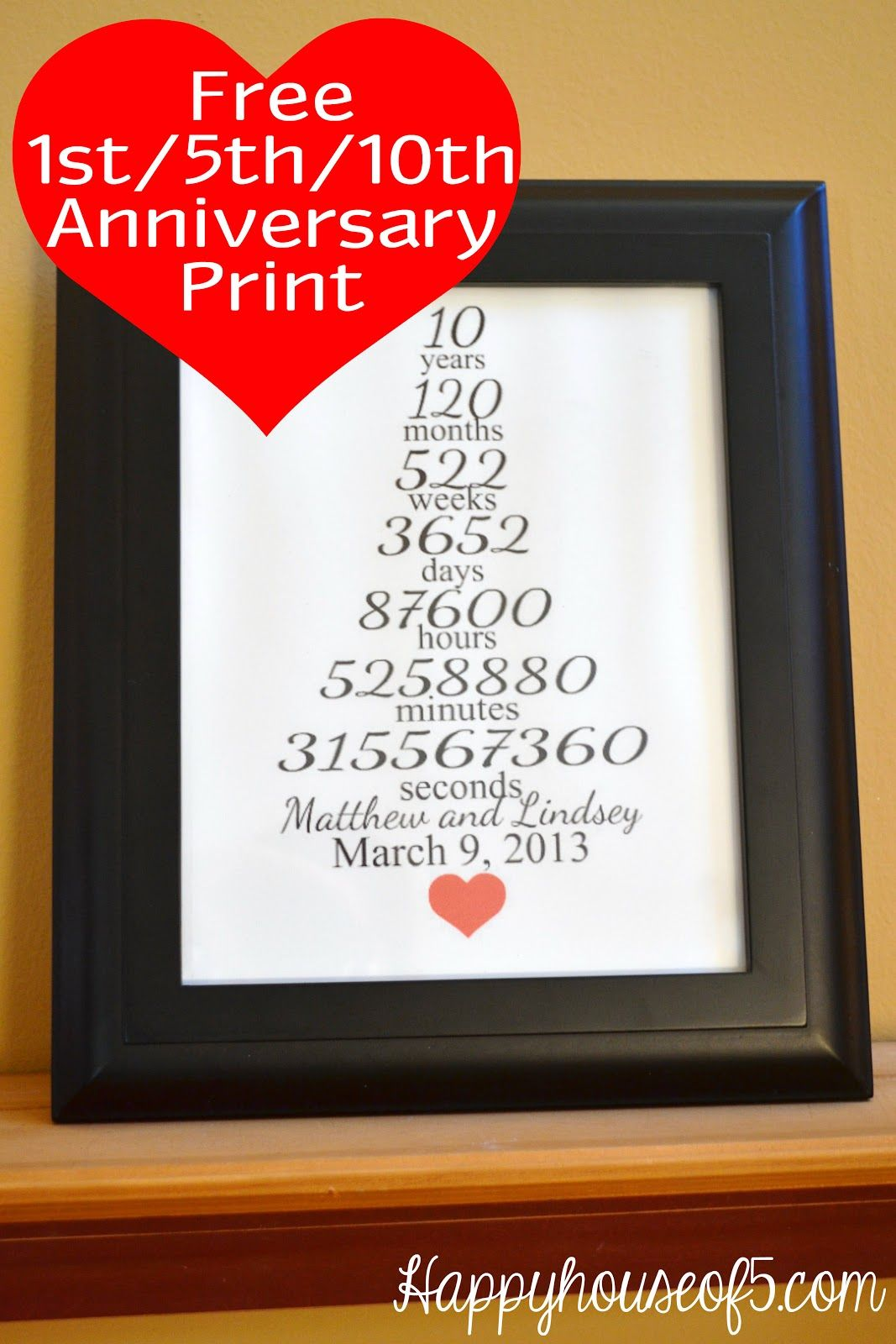 Free 1st 5th 10th Anniversary Printable Happyhouseof5 Com Anniversary Gifts Anniversary 10th Wedding Anniversary