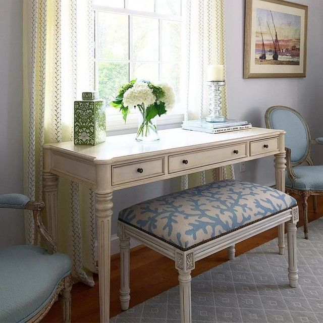 Emily Desk With Images Blue And White Living Room White