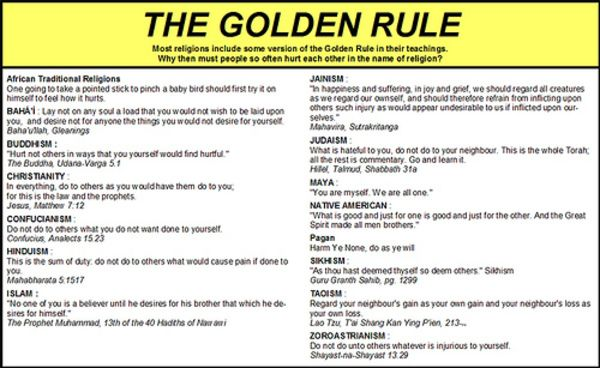 Image result for golden rule in all religions poster | Other ...