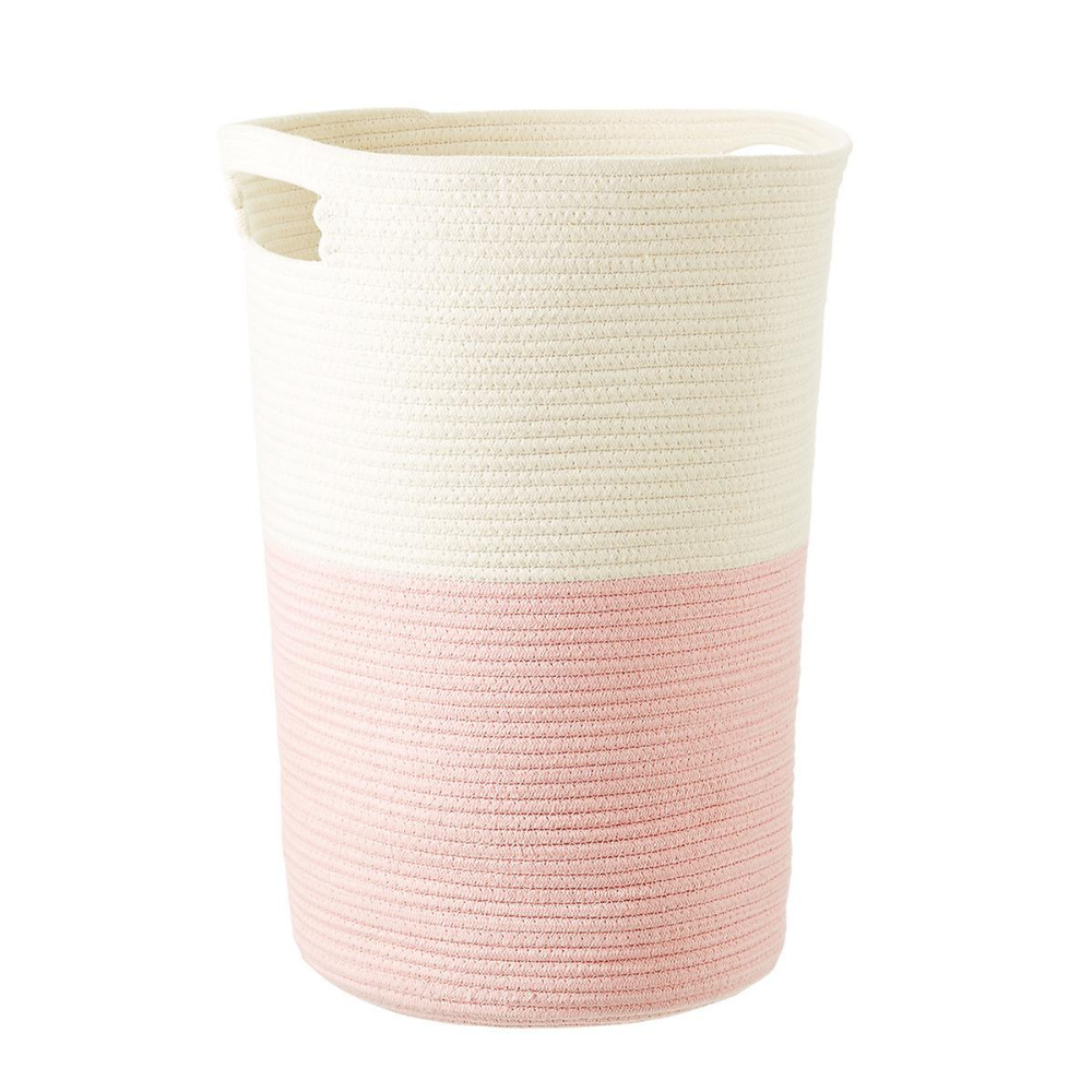 Pink Cotton Rope Laundry Hamper Laundry Hamper Nursery Hamper Cotton Rope