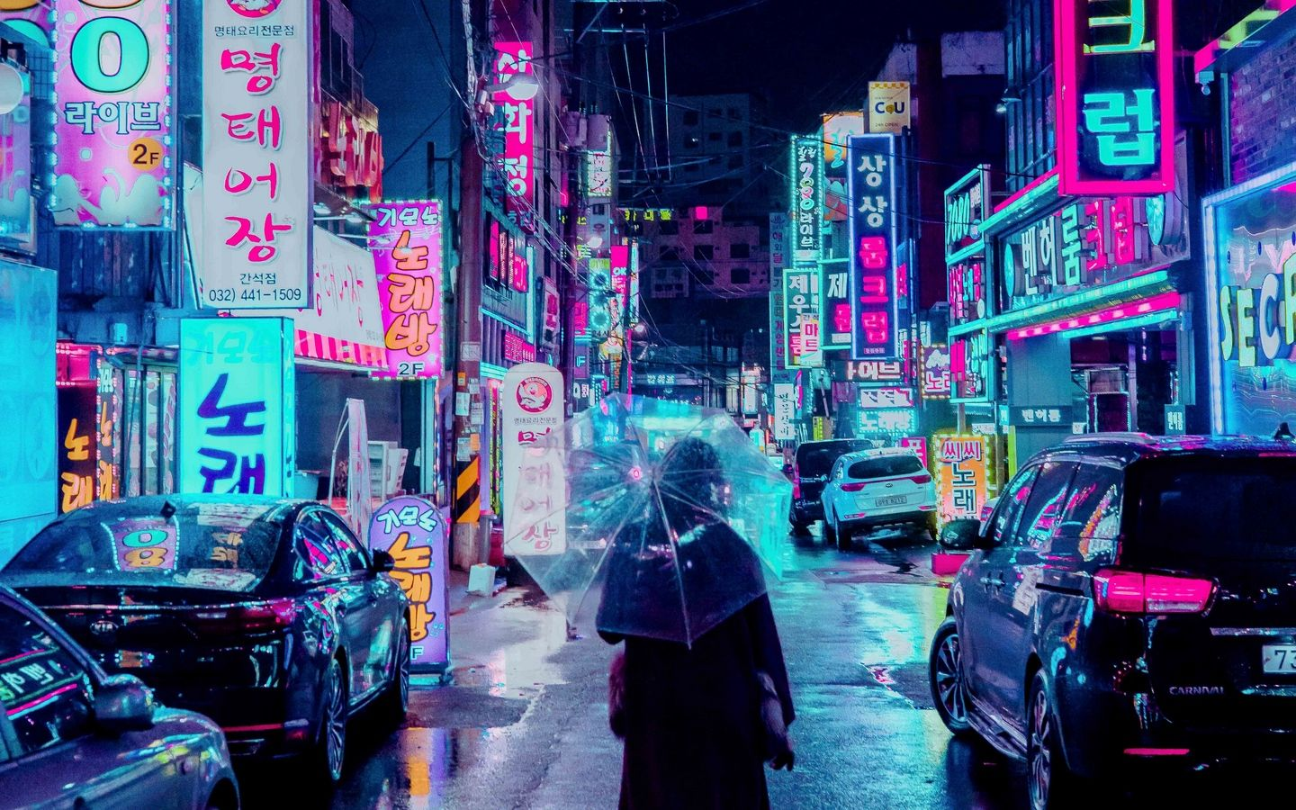 1440x900 Wallpaper Night City Street Umbrella Man Signboards Lighting Neon Papel De Parede Da Cidade Papel De Parede Neon Papel De Parede Vaporwave