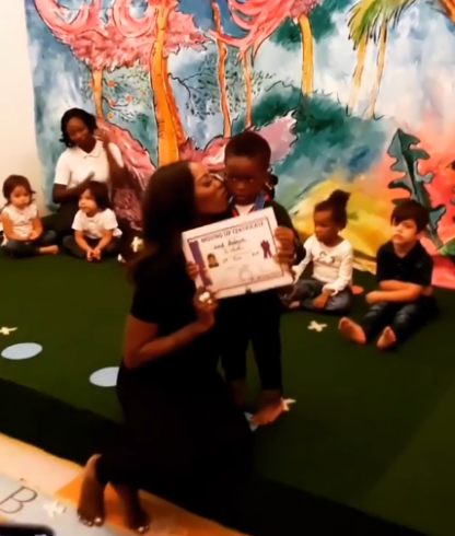 """Mavin records first lady, Tiwa Savage and her estranged husband, TeeBillz' son, Jamil is moving up from Kindergarten today, and he donned all Gucci for the graduation. Tiwa said she had to rush up from the airport to meet up the ceremony. She wrote; """"Lil J's Vibe 💦💦💦😍😍😍❤❤ #HeShouldBeAModel #TooHandsome"""
