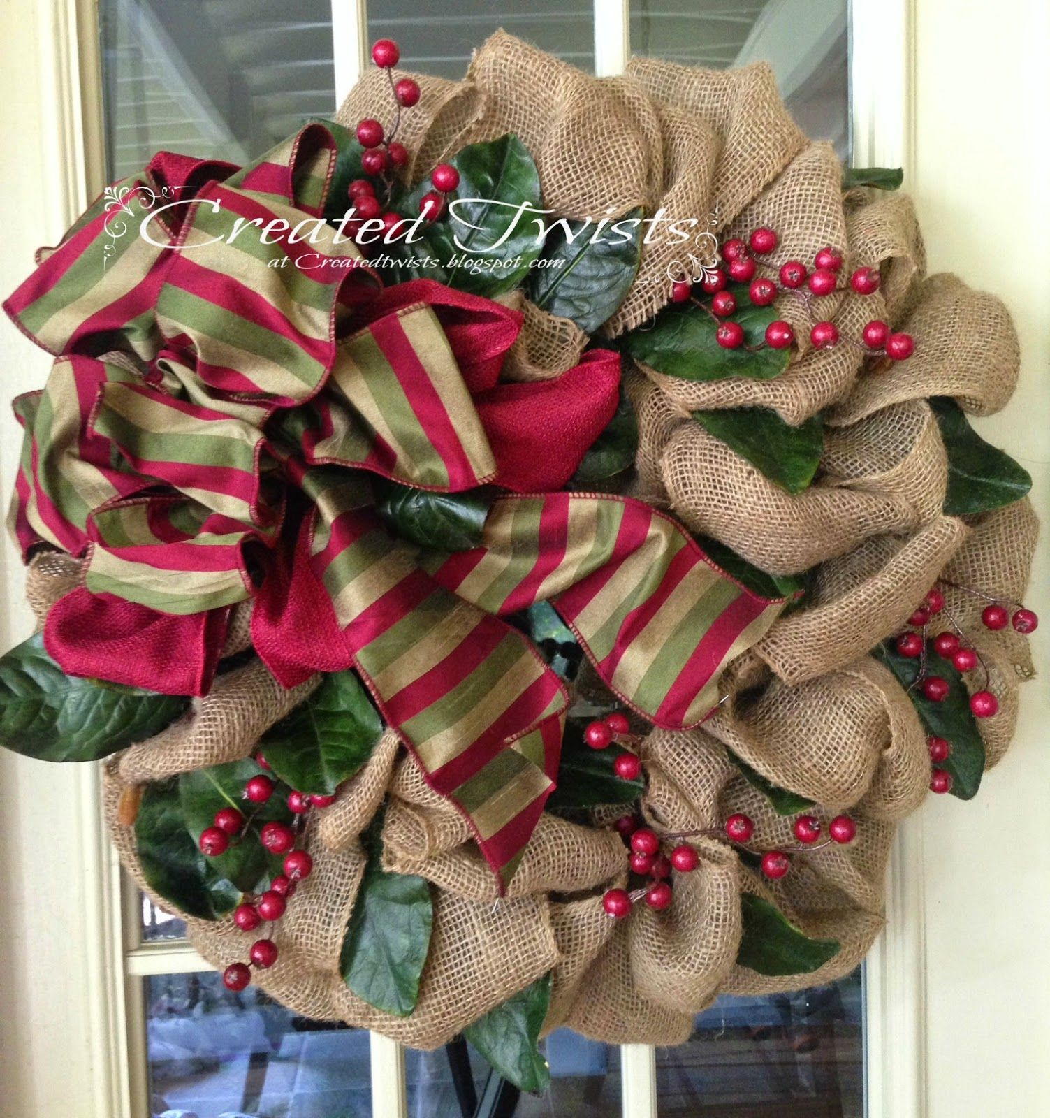 Burlap Christmas Wreaths with Magnolia Leaves and Berries