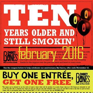 image relating to Smokey Bones Coupons Printable identify No cost Printable Coupon codes: Smokey Bones Discount codes very hot discount codes