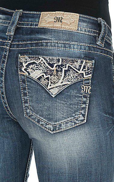 Miss me jeans bootcut medium wash embroidered rhinestone