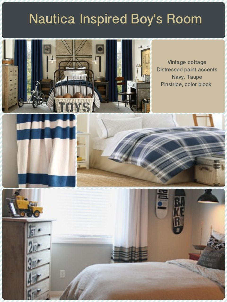 Navy and Taupe for a boy's room