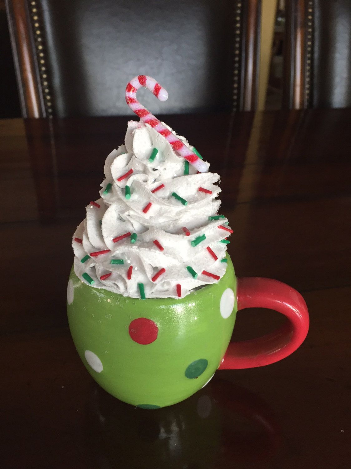 Polka Dot Candy Cane Fake Cupcake in Mug by 0CalorieCakesbyChris on Etsy