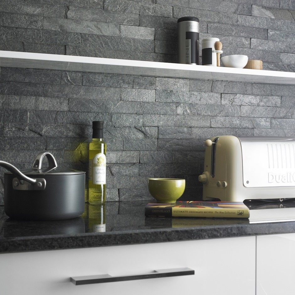 Grey Slate Kitchen Wall Tiles: Silver Grey Split Face Tiles Are Created From Rustic