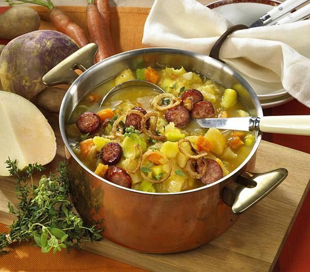 Steckrübeneintopf mit Kochwurst #meatfonduerecipes