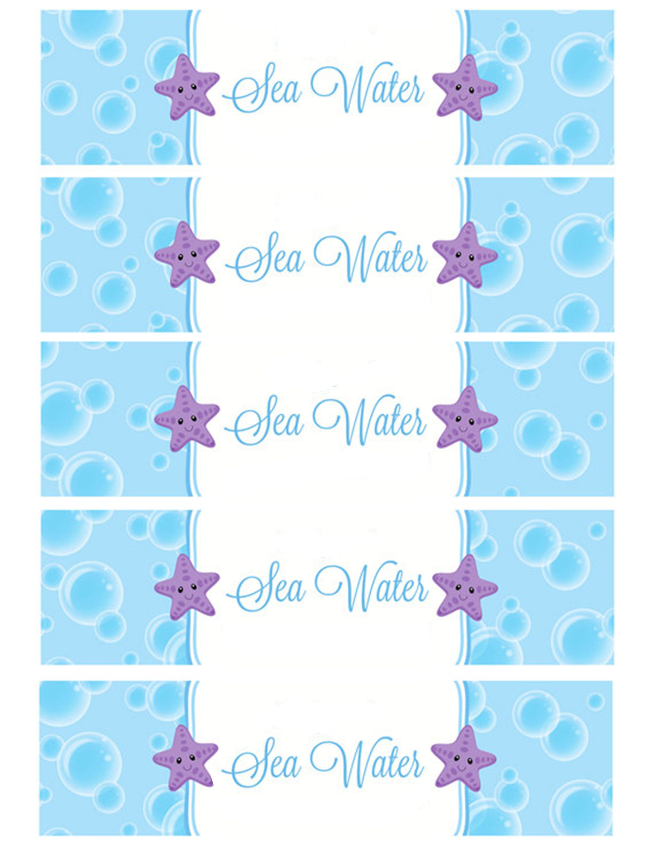 graphic regarding Free Printable Water Bottle Labels for Birthday titled Sea Drinking water H2o Bottle labels Trip - Birthday Social gathering within just