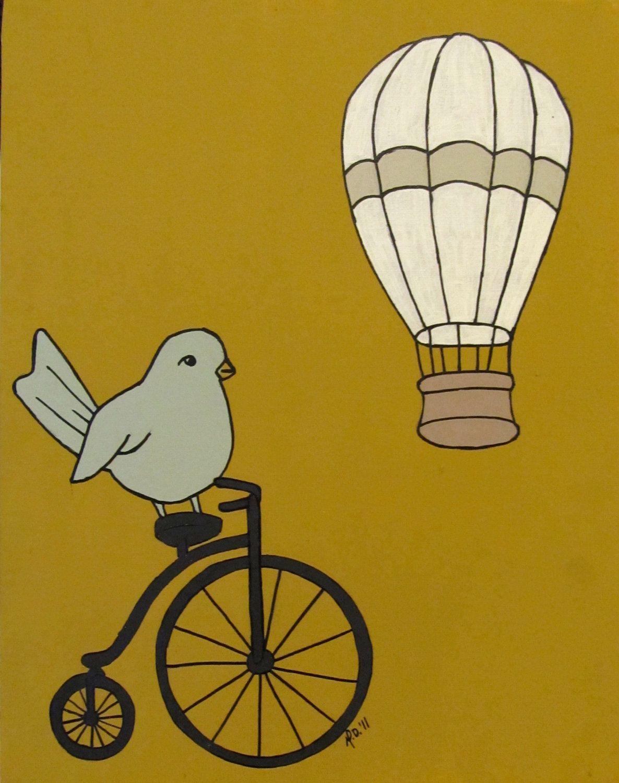 Bird art print Summer Ride Modern Urban Chic bird by mdcreated, $15.00