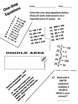 One Step Equations One Step Equations Equations First Step One step equations worksheet addition