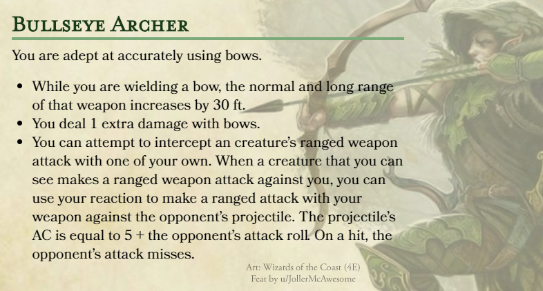 Feat Bullseye Archer Felt Like Something For Bows Lacked In Official Feats Need Feedback Dndhomebrew Dnd Feats Dungeons And Dragons Homebrew Dnd Classes