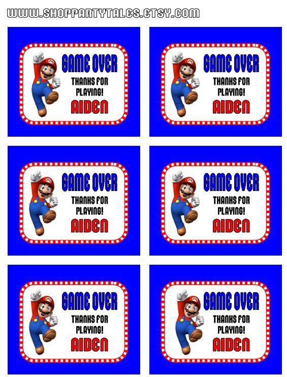 Super Mario Bros Wii Birthday Boy Party Printable Game Over Thank