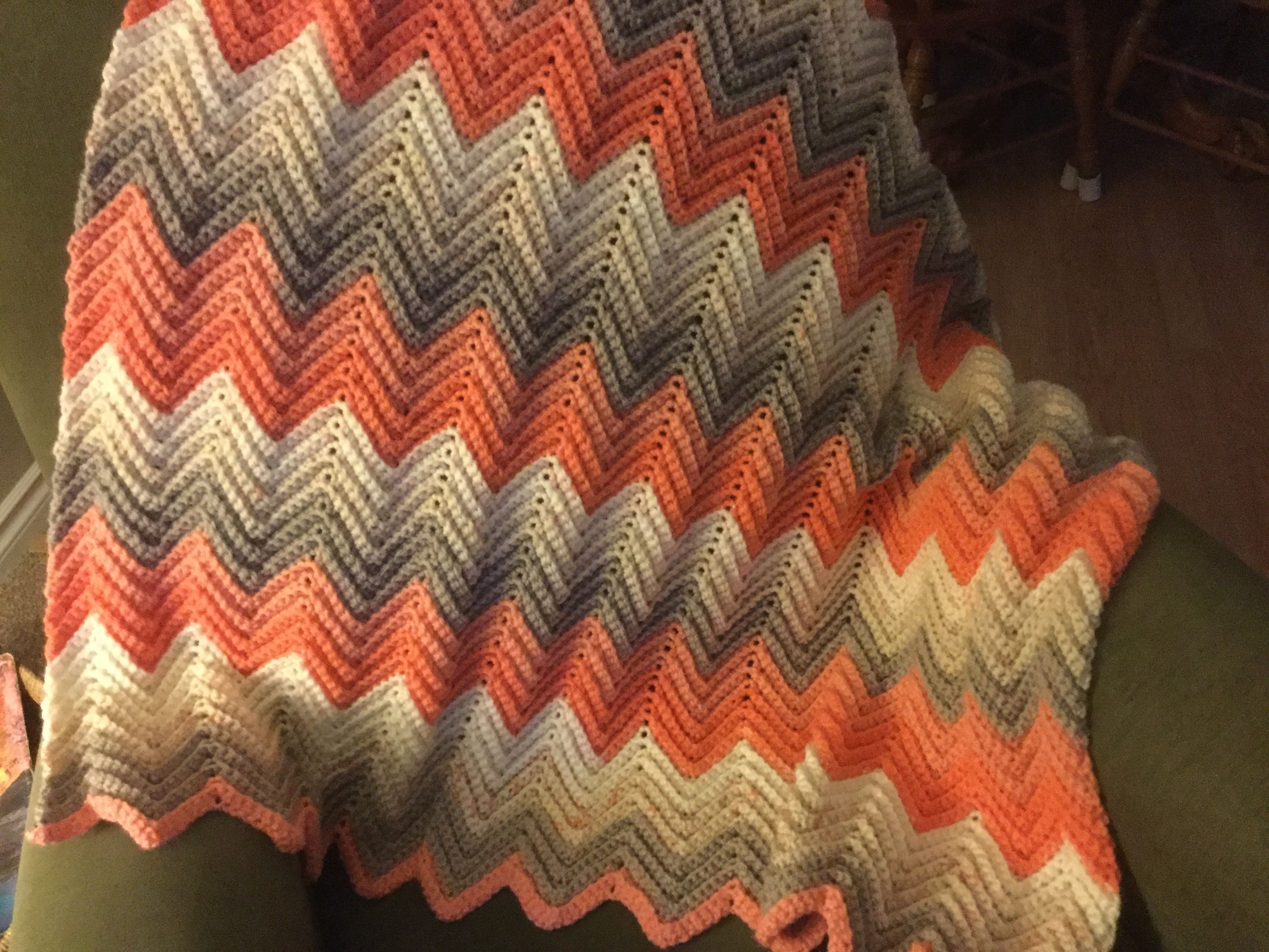 Single crochet ripple chevron afghan using Caron Cakes - strawberry ...