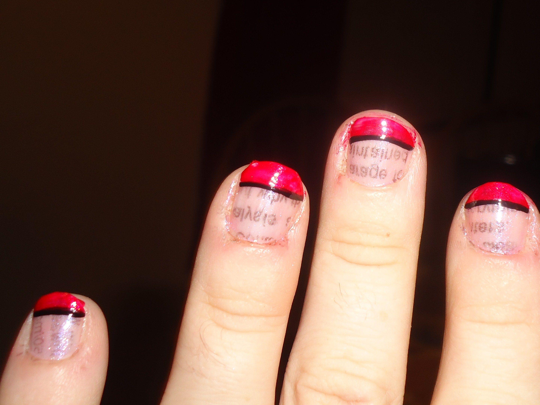 Newspaper nail art, Newspaper nail polish, french tip newspaper ...