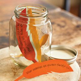 Grateful Conversations byDeborah Way: Explore the concept of gratitude with kid-friendly Thanksgiving conversation starters.   Materials:   Paper,   Marker,   Feather template,   Jar.   Instructions:   First, write questions about gratitude on pieces of paper (you can download our feather template) and place them in a jar. During your Thanksgiving meal, pass the jar and have each person draw a card and answer the question.  Here are some questions to get you started:  ● What are you most…