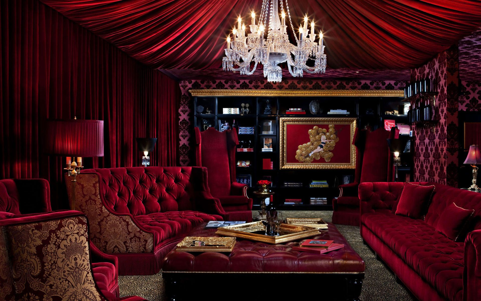 Bordello Chic Immerse Yourself In A Make Believe World Red Rooms Living Room Red Velvet Room