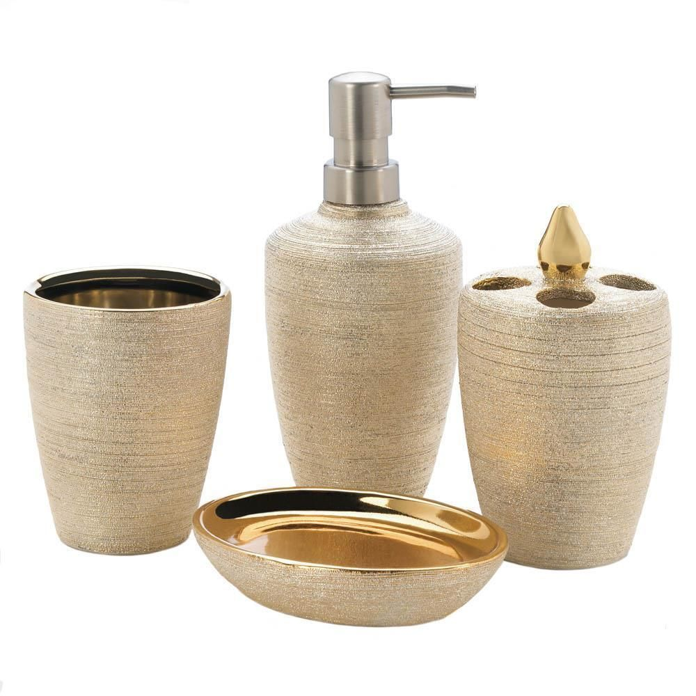 4 Pc Metallic Gold Ceramic Bathroom Accessories Soap Dish Pump Makeup Holder Unbranded Bath Accessories Set Bathroom Accessories Sets Shimmer Bath