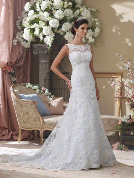 David Tutera - Sleeveless hand-beaded embroidered lace and tulle over satin A-line wedding dress with scalloped lace and illusion bateau neckline, softly curved bodice features jewel beaded inverted e