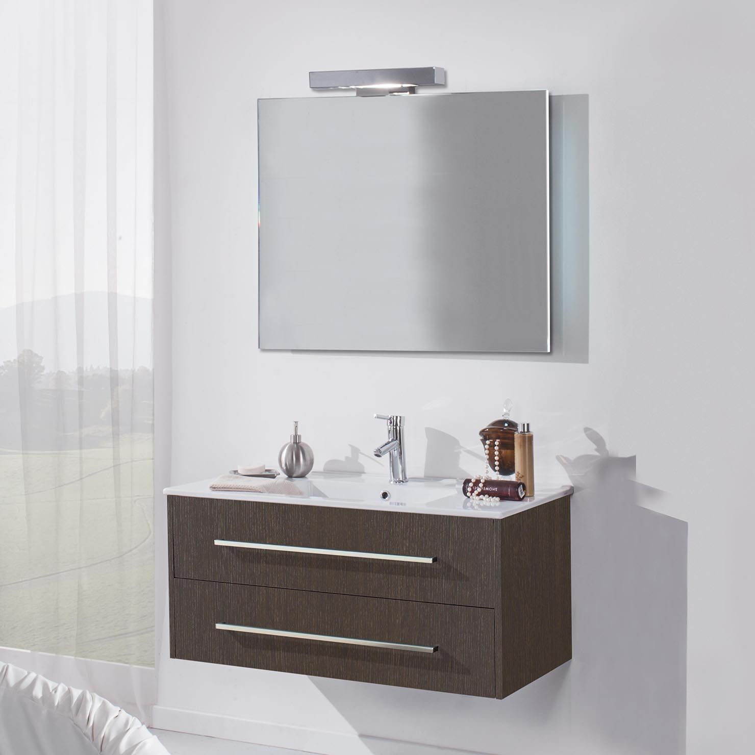 TFT HW Bathroom Basin with Two Drawer Cabinet & Mirror, Wenge ...