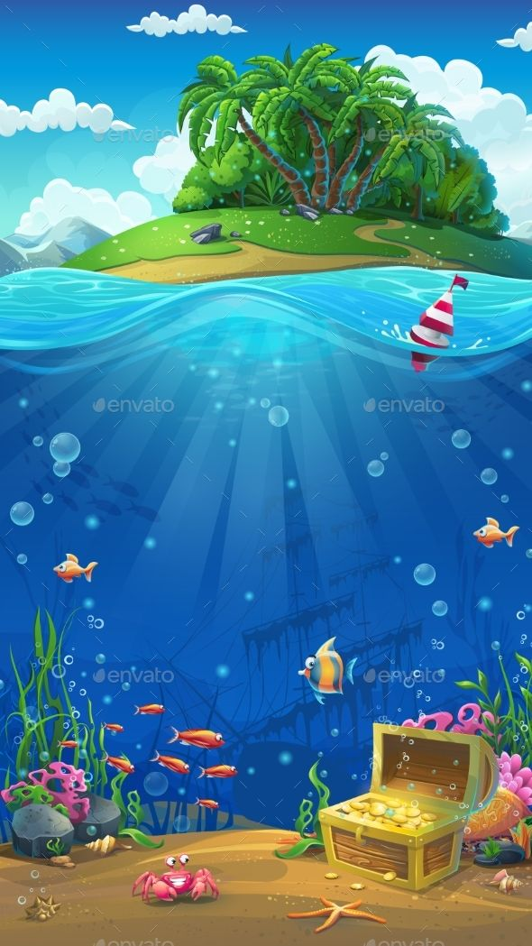 Island In The Ocean By Nearbirds Undersea World With Island Mobile Format Marine Life Landscape A The Ocea Underwater Painting Undersea Mural Ocean Painting