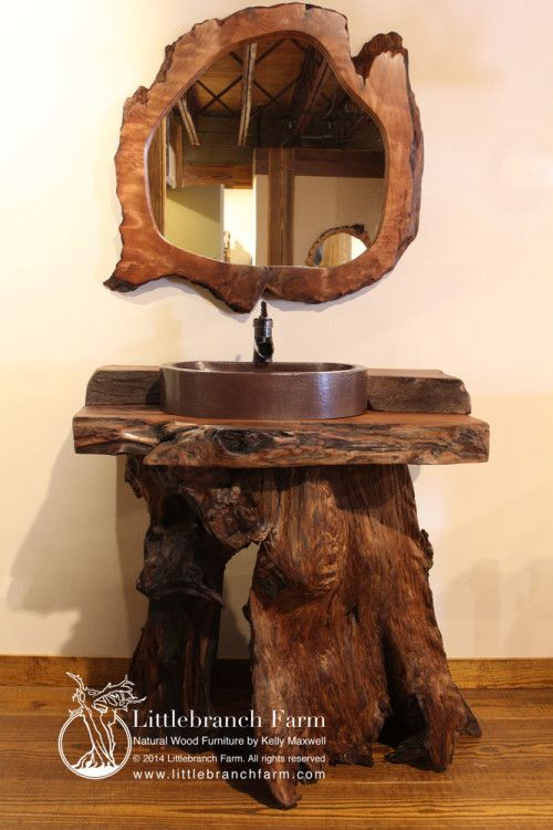 Photo of Wood Slab Rustic Bathroom Vanity | Littlebranch Farm