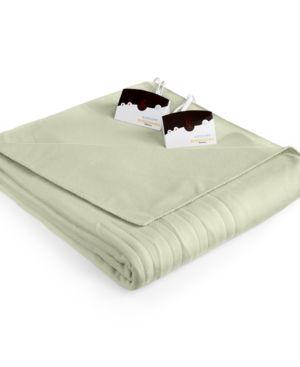 Closeout! Biddeford Comfort Knit Fleece Heated Queen Blanket - Green