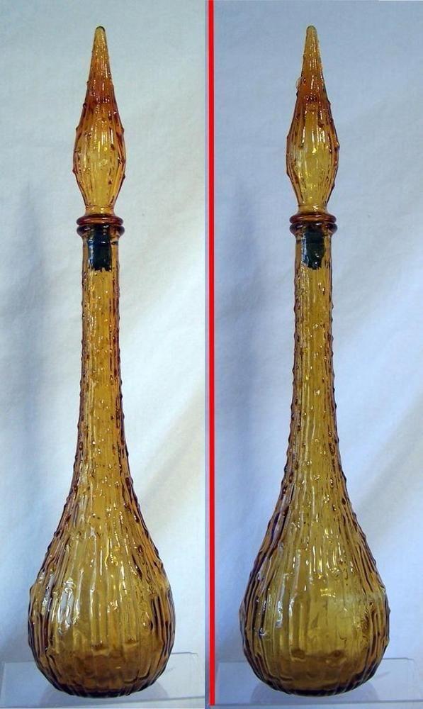 Vintage Italian 22 Empoli Amber Hobnail Glass Genie Bottle Stopper Decanter Hobnail Glass Glass Genie Bottle
