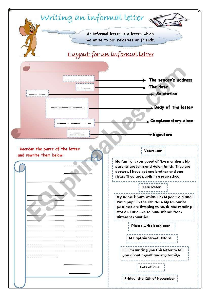 Writing An Informal Letter Worksheet Writing Worksheets Lettering Writing [ 1169 x 821 Pixel ]