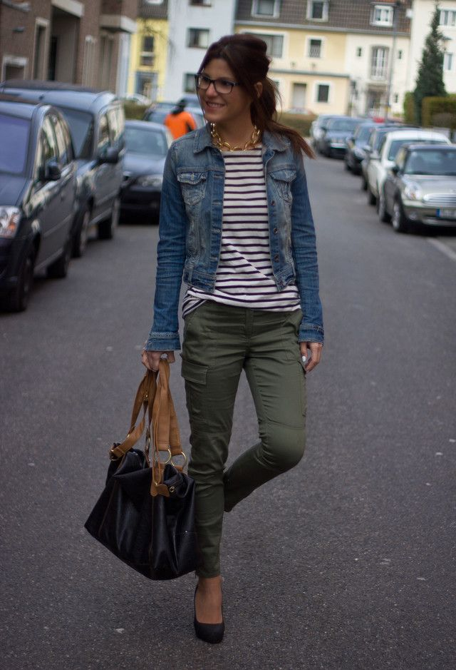 White and black striped shirt, jeans jacket, olive pants