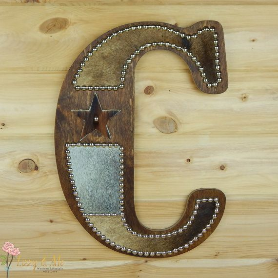 Cowhide Wall Letter C - Made to Order, Western Home Decor, Wall ...