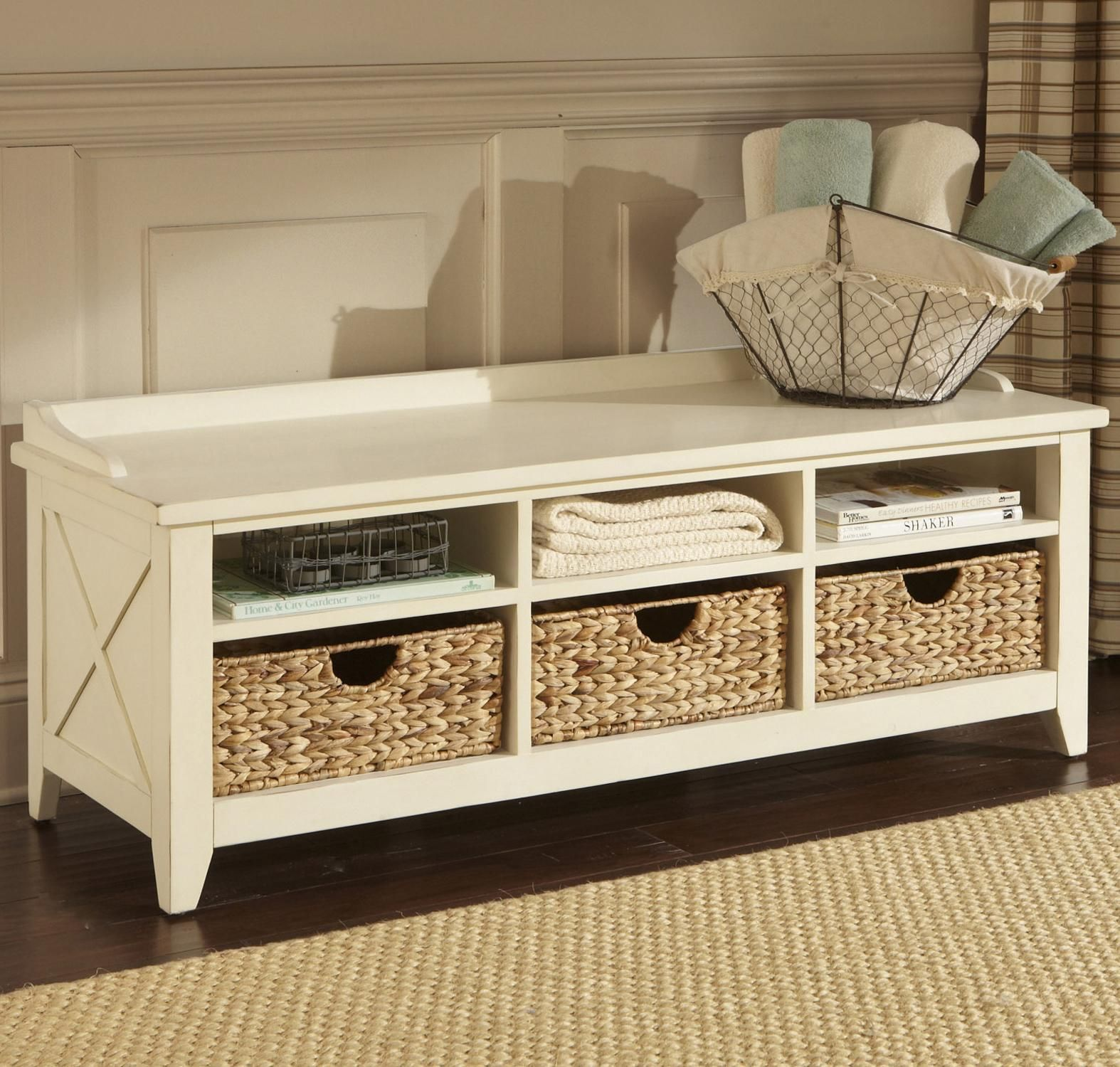 Perfect For A Small Entryway Hall Or Apartment This Storage Bench Offers A Stylish Greeting Into Your Home The X Motif An Storage Bench With Baskets Entryway Bench Storage Bench With Storage