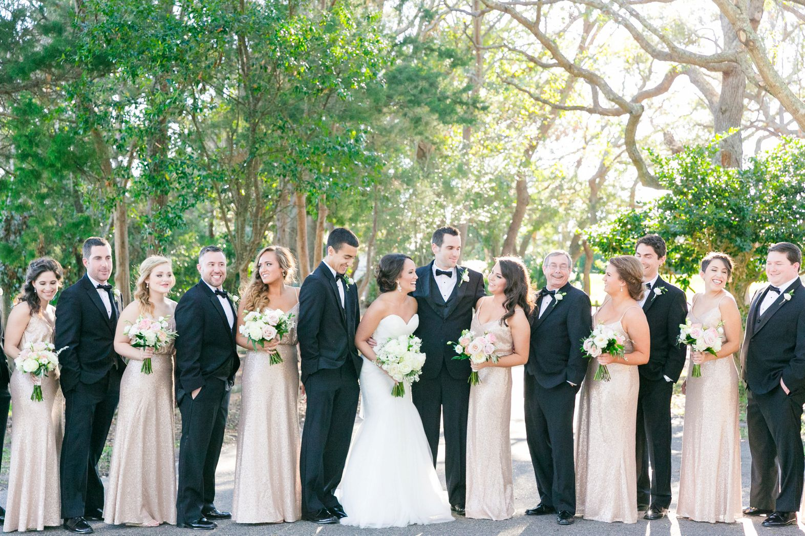 Long Rose Gold Sequined Gowns Black Tuxedos Elegant Blush Gold Wedding At The Dunes Club In Myrtle Beach By Blush Gold Wedding Gold Bridal Party Wedding [ 1048 x 1572 Pixel ]
