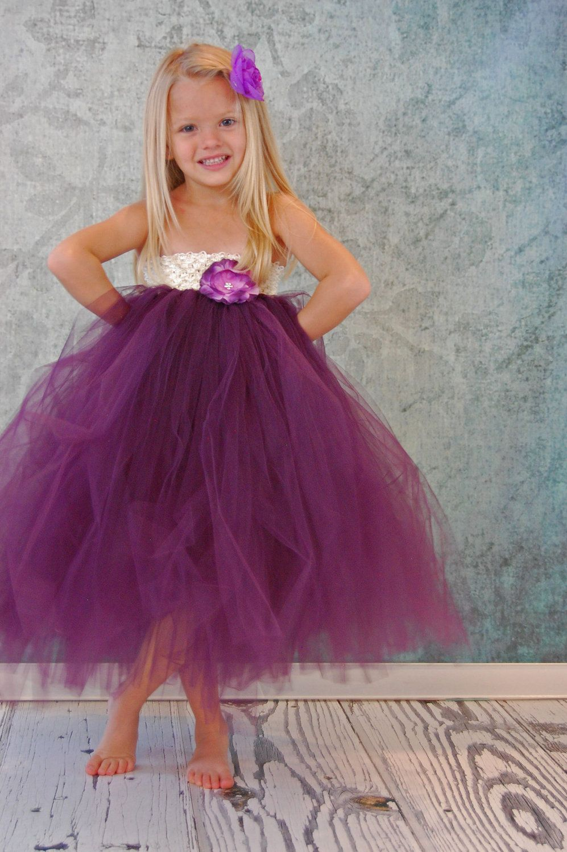Free shipping to us purple plum flower girl tutu dress